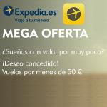 Vuelos de ida y vuelta por 50€ en Expedia