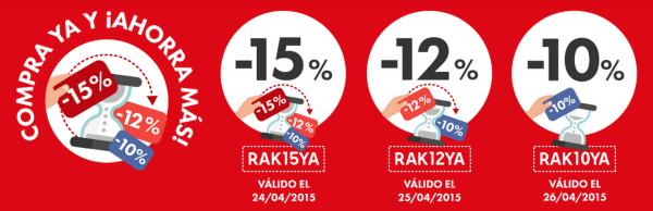 Cupones diarios en Rakuten hasta el día 24 con descuentos del 15, 12 y 10%